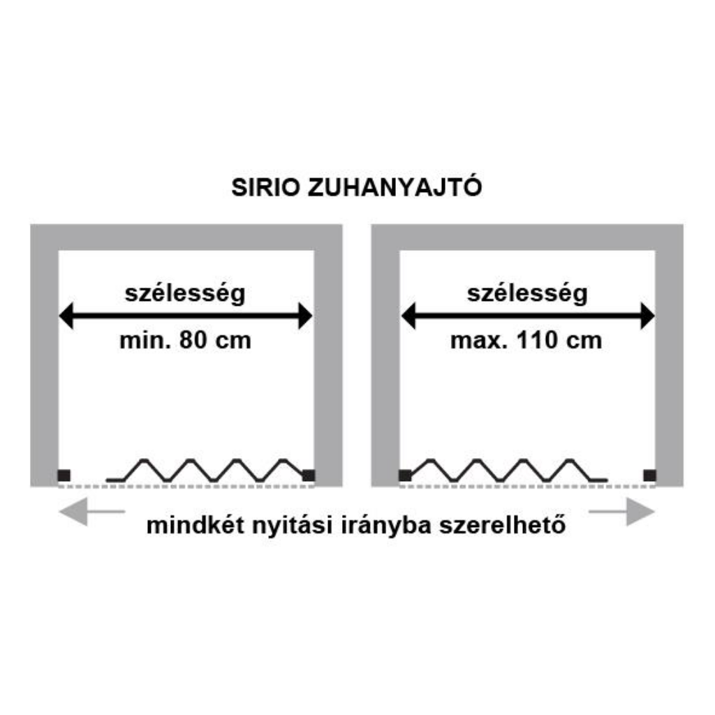 Sirio_zuhanyajto_meret